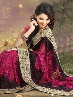 #Magenta Net #Saree with Blouse