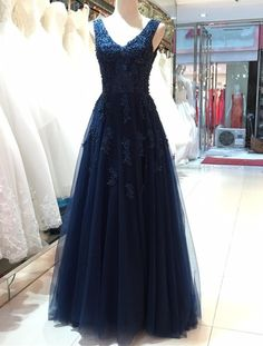 Elegant Navy Blue Tulle Backless Floor Length Prom Dresses, Party Gowns, Evening Dresses, Navy Blue Formal Dresses
