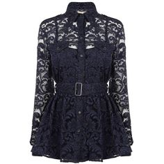 BURBERRY LONDON Lace Belted Shirt Jacket (£350) ❤ liked on Polyvore featuring outerwear, jackets, tops, shirts, dresses, navy, navy blue lace jacket, navy blue jacket, navy camisole and belted jacket