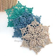 Crochet Leaf Patterns, Crochet Snowflake Pattern, Crochet Leaves, Crochet Motifs, Crochet Snowflakes, Doily Patterns, Crochet Doilies, Crochet Yarn, Crochet Flowers