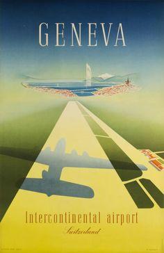 Walter Mahrer, Geneva Travel Poster Switzerland, 1948