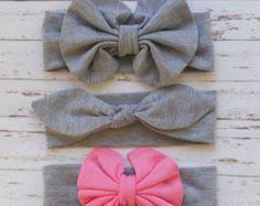 Baby headband Messy bow headbandFloppy bow por bowslaceandmore