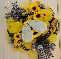 Smaller Bumble Bee Sunflower Deco Mesh Wreath. $60.00, via Etsy.