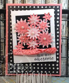 stampin up, handmade, card making, grateful bunch, flowers, punches, flirty flamingo