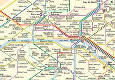 map of central part of paris metro
