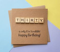 30th birthday card Thirty Scrabble card Funny thirtieth | Etsy 30th Birthday Cards, Thirty Birthday, Vintage Birthday Cards, Special Birthday, Handmade Birthday Cards, Birthday Parties, Scrabble Cards, Scrabble Tiles, Funny Greeting Cards