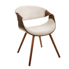 Curvo Chair Walnut, Cream | Modern Dining Chair by Lumisource at Contemporary Modern Furniture  Warehouse - 1