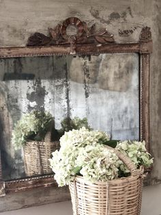 Provence - Vicki Archer hydrangeas in basket...nice touch by reflecting them in a mirror