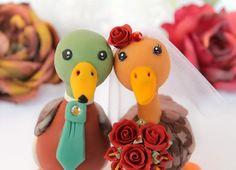 Bird Cake Toppers, Custom Cake Toppers, Custom Cakes, Rustic Wedding Cake Toppers, Wedding Cakes, Engagement Hand, Duck Cake, Bird Cakes, Anniversary Funny