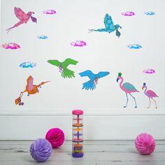Flying Journey - Sas and Yosh - Wall Stickers - Wall Decoration - Wall Art - Home decor - Wall Decor - Nursery Decor Nursery Wall Stickers, Nursery Wall Decor, Self Adhesive Wallpaper, Handmade Items, Colours, Bird, Wall Art, Illustration, Prints