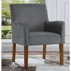 StarSun Depot Modern Grey Linen Upholstered Armchair with Wooden Legs