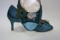 ok really - LOVE THESE SHOES. Sale Wedding Shoes  Teal Shoes  Short Heel  Bridal by Londonxox, $60.00