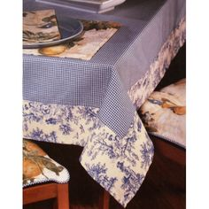 Waverly Oblong Tablecloth Gingham Blue Toile Fabric: Serve your guests at a beautifully decorated table with this Waverly tablecloth. The classic toile border and checkered gingham center pattern on a neutral beige background accents any table L x W Sewing Crafts, Sewing Projects, Oblong Tablecloth, Tablecloth Ideas, Gingham Tablecloth, Gingham Fabric, Blue Fabric, Patchwork Fabric, Beige Background