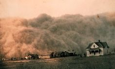 The Dust Bowl affected 100,000,000 acres, centered on the panhandles of Texas and Oklahoma, and adjacent parts of New Mexico, Colorado, and Kansas.