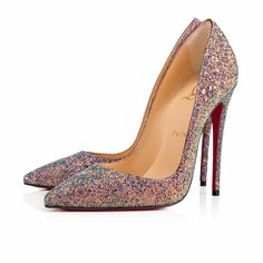 """""""So Kate"""" is a Christian Louboutin signature classic known for her pointed toe and superfine stiletto heel. At 120mm, this single-sole pump in etincelle dragonfly glitter is the secret to evening ensemble perfection."""