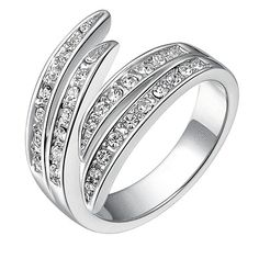 Women Fashion Crystal Feather Silver Plated Wedding Engagement Ring Jewelry