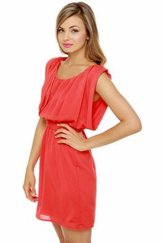 Cute Coral Red Dress - Pleated Dress - Short Sleeve Dress - $43.00