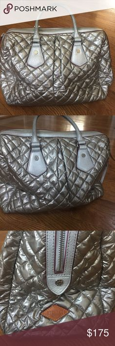 """MZ WALLACE PURSE! Beautiful MK WALLACE SILVER PURSE! In great condition! Some minor wear on handles also interior is a little dirty. Please see all pictures! Measures 17"""" x  11 1/2"""" Strap depth 5""""! Thanks for looking! MZ Wallace Bags Satchels"""