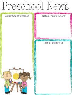 Preschool Bright Color Newsletter | The Crafty Teacher