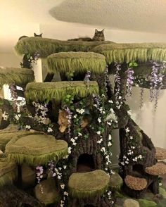 Epic Enchanted Forest Cat Tree - Welcome New Petsupplies Cat Castle, Cat Tree House, Diy Cat Tree, Cat Towers, Cat Playground, Cat Enclosure, Cat Condo, Cat Room, Forest Cat