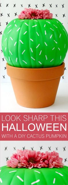 Your Halloween decor will be looking sharp this year when you make this adorable DIY Cactus Pumpkin! Your Halloween decor will be looking sharp this year when you make this adorable DIY Cactus Pumpkin! Citouille Halloween, Halloween School Treats, Fairy Halloween Costumes, Holidays Halloween, Halloween Decorations, Pumpkin Decorations, Halloween College, Outdoor Halloween, Halloween Makeup