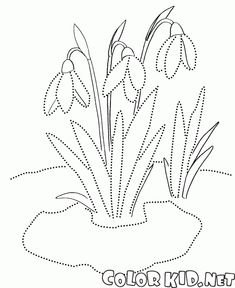Coloring page - Snowdrops Embroidery Cards, Embroidery Patterns, Stitch Patterns, Spring Coloring Pages, Coloring Pages For Kids, Stitching On Paper, Quilting Templates, Stained Glass Patterns, Craft Activities For Kids