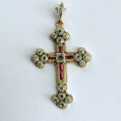 """Antique Diamond and Ruby Gold Cross Gorgeous antique gold cross with diamond and ruby details.  The cross has the following detailing;  Baguette cut Rubies Circular Diamonds Rose Gold  White Gold  Dimensions- 1 1/2"""" Height x 1"""" Width Jewelry Gold Cross, Baguette, Antique Gold, Diamonds, White Gold, Shop My, Rose Gold, Detail, Antiques"""