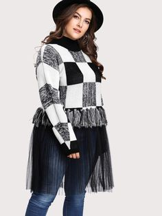 A Plus size Black and White Fringe Sweater 2X-3X