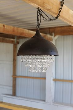Industrial Metal Pendant Light with Crystals, Rustic Chandelier Farmhouse Chandelier, Rustic Chandelier, Farmhouse Lighting, Vintage Chandelier, Chandelier Pendant Lights, Vintage Lighting, Pendant Lamp, Chandeliers, Crystal Pendant
