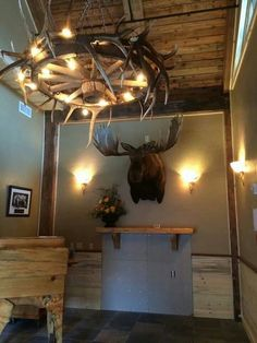 Elk Antler Wagon Wheel Chandelier - custom made for Ernie's Steakhouse & 41 Club in Lewiston, ID by my boyfriend @Aaron Smith