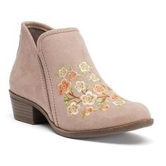 SO® Meme Women's Floral Embroidery Ankle Boots, Teens, Size: medium (