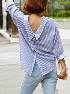 Blue Stripe Long Sleeve Back Button Detail Shirt Blouse Styles, Blouse Designs, How To Wear Shirt, Thrift Store Refashion, Bluse Outfit, Blouse Dress, Casual Outfits, Fashion Outfits, Old Shirts