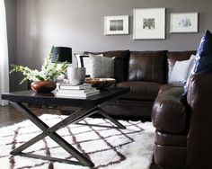 Brown & grey living room. Interior design