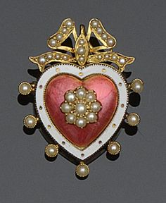 An enamel and seed pearl brooch/pendant modelled as a pink and white enamel heart centred with a cluster of half pearls, to a similarly set border and ribbon bow surmount, with glazed verso. Victorian or Victorian style.