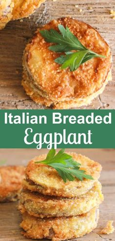 Italian Breaded Eggplant, an easy and so delicious side dish or appetizer, sliced eggplant lightly fried in a yummy Parmesan breadcrumb mix. Perfect! #eggplant #breadedeggplent #appetizer #Italiancuisine #vegetable #vegetarian #friedeggplantrecipes