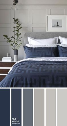 Bedroom color scheme ideas will help you to add harmonious shades to your home which give variety and feelings of calm. From beautiful wall colors. color schemes grey Grey and dark blue color scheme for bedroom Grey Colour Scheme Bedroom, Light Gray Bedroom, Dark Blue Bedrooms, Blue Master Bedroom, Blue Rooms, Navy Bedroom Walls, Best Colour For Bedroom, Navy Color Schemes, Wall Colors For Bedroom