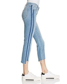 $MOTHER Insider Crop Step Fray Jeans in Light Kitty - 100% Exclusive - Bloomingdale's