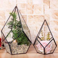 Современный художественный прозрачное стекло геометрические террариум четыре   поверхностей алмаз сочные папоротник мосс завод террариум бонсай цветочный горшок купить на AliExpress