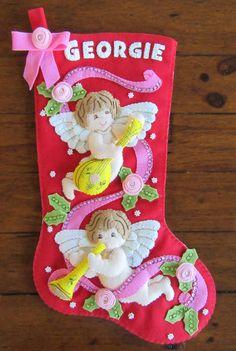 Santa Decorations, Felt Stocking, Christmas Crafts, Christmas Ornaments, Metallic Thread, Cherub, Needle Felting, Pink Flowers, Christmas Stockings