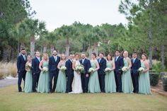 Sage Green and Navy Blue Wedding Party
