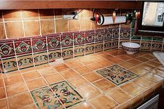 Great color combinations and easy to clean Mexican tile.