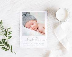 Birth Announcement Card, Printable Baby Thank You, Baby Boy Card, Photo Announcement, Free Colour Changes, BABYB002