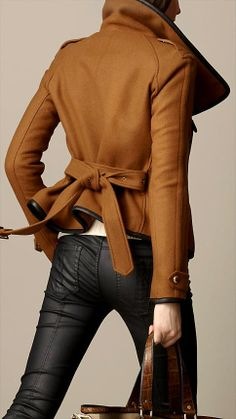 burberry coat outlet brxn  MODE THE WORLD: Burberry Leather Trim Blanket Wrap Up Jacket  Fab Winter  Trench Trend