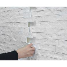Innovera Decor by Palram Ledge Stone PVC Wall Paneling in White Plastic Wall Panels, Vinyl Wall Panels, Pvc Panels, Decorative Wall Panels, Basement Wall Panels, Basement Walls, Basement Ideas, White Wall Paneling, Brick Paneling