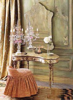 All Things Shabby and Beautiful Vintage Dressing Tables, Dressing Table Vanity, Vanity Tables, Dressing Rooms, Vanity Stool, Dressing Stool, Table Mirror, Tocador Vanity, Vintage Vanity