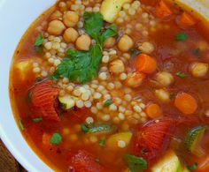 garbonzo bean soup with israeli cous cous... I would try with orzo instead (not a fan of cous cous)