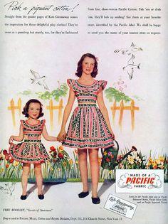 Wonderfully cute summertime Kate Greenaway children's summer fashions, 1947.