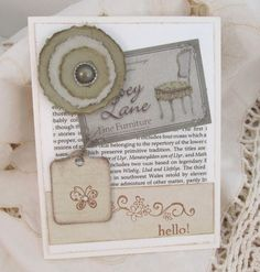 Vintage Style Card  All Occasion Card  Sage by PrettyByrdDesigns, $4.00