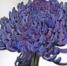 Chrysanthemum (linocut) by Irene MacKenzie . Artwork Type: Other; Art Floral, Motif Floral, Art Et Illustration, Botanical Illustration, Illustrations, Linocut Prints, Art Prints, Woodcut Art, Block Prints