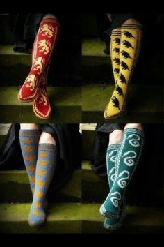 House socks - I've already bookmarked these on ravelry so I can make the Ravenclaw ones for myself for camp 9 3/4 in Oct *eek*